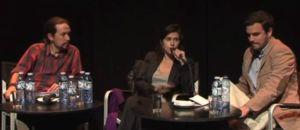 Pablo Iglesias y Alberto Garzón en un acto moderado por Olga Rodríguez. Captura del vídeo.